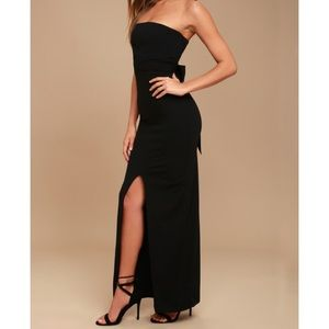 Lulu's Own The Night Black Strapless Maxi Dress